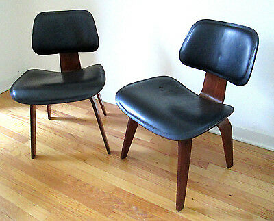 early and rare eames walnut leather dcw pair 5-2-4 1952