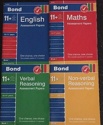 BOND 11+ 4 ASSESSMENT PAPERS BOOK 1 Verbal & Non Reasoning English Maths 10-11+