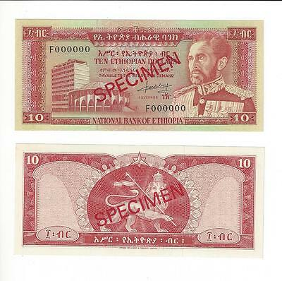 Ethiopia 10 Dollars National Bank  Specimen   Nice Unc  00000 Nos