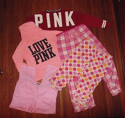 "LOT of 4 ~ Victoria's Secret ~ Medium ~ Zip hoodie ~ sweat shirt ~pants~ ""PINK"""