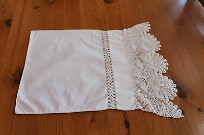 Antique HAND CROCHETED with LACE INFANT PILLOW CASE / Gorgeous!