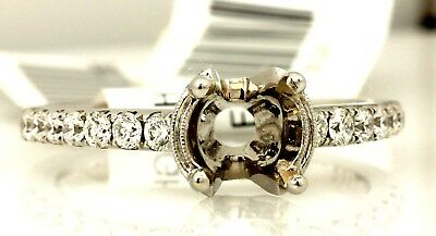 18k white gold engagement ring 1ct 6.5mm round semi mount .57ctw diamond accents