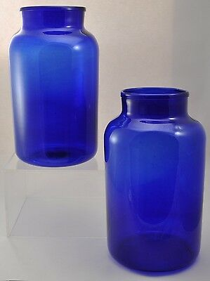 Pair of Antique Free Blown Cobalt Glass Floor Vases 17 Inches Tall