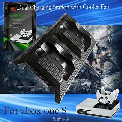 4 USB Dual Charging Station Dock +Cooling Cooler Fan for Xbox one S Game Console