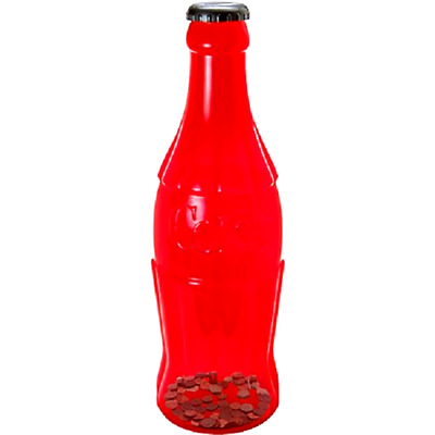 Large Coca Cola Bottle Piggy Bank Coin Storage Box Coke Kids Money Safe Red