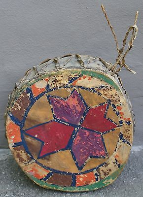 Vintage 1920's Northern New Mexico Pueblo Indian Decorated Rawhide & Wood Drum