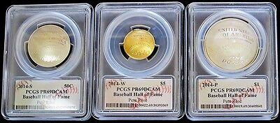 2014 Gold Baseball Hall Of Fame 50C,$1,$5 Set Pcgs Proof 69 Cam Signed Pete Rose