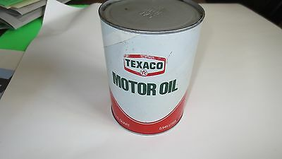Vintage Texaco Motor Oil Metal 1 Quart Can, 1982, Full, Free Ship