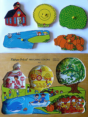 #522 Matching Colors Teaching * Vintage Fisher Price Pick-Up & Peek Wood Puzzle
