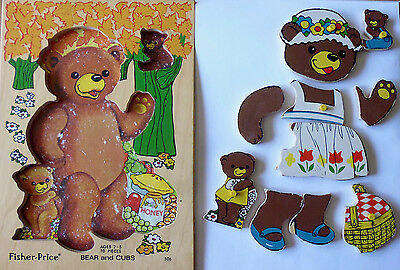 #506 Bear & Cubs * Vintage Fisher Price Pick-Up & Peek Wood Puzzle Holland 10 pc