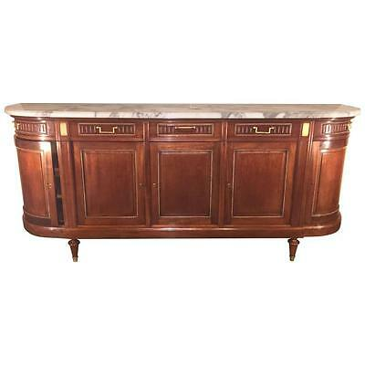 Monumental Maison Jansen Marble Top Directoire Sideboard in Louis XV Fashion