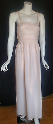 Vintage Gorgeous Textron Nightgown Gown Light Peach/Pink Rayon/Lace