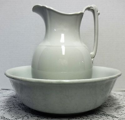 Vintage White Ironstone Porcelain Pitcher and Wash Bowl Basin