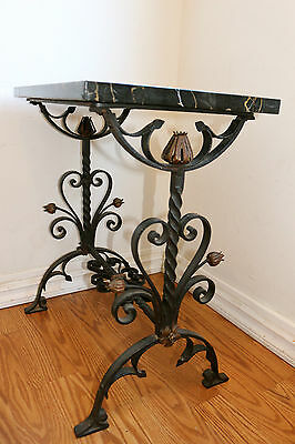 Spanish Revival Wrought Iron Table With Flowers And Gorgeous Marble Top