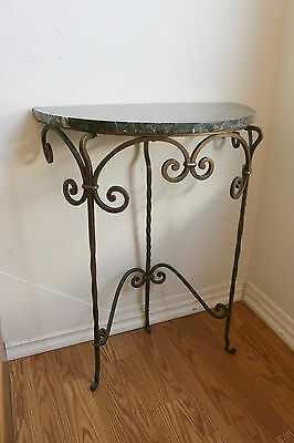 Spanish Revival Entry Console With Iron Legs And Gorgeous Marble Top