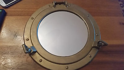 Old Brass Window Mirror Porthole/Nautical Decor/Home & Wall Decor/Ship Porthole