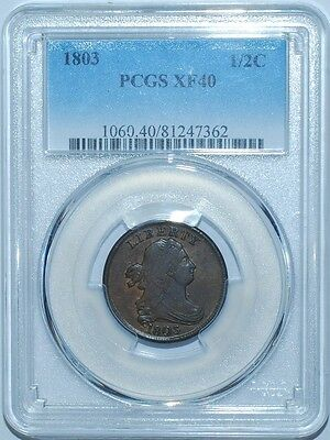 1803 PCGS XF40 Draped Bust Half Cent