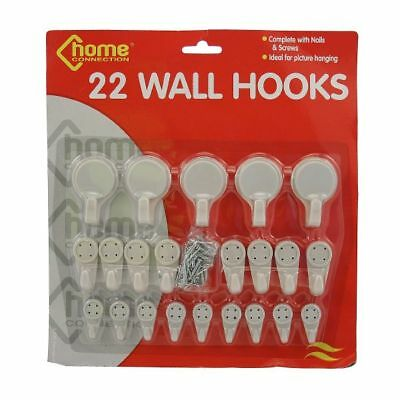 22 White Plastic Wall Hooks Nails And Screws Assorted Sizes Picture Hanging