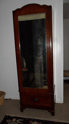 1860 1880s VICTORIAN FULL LENGTH MIRROR ARMOIRE WARDROBE