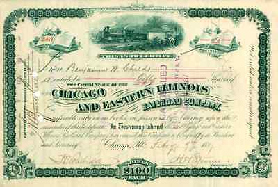 1887 Chicago & Eastern Illinois RR Stock Certificate