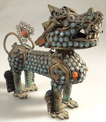 ANTIQUE CHINESE STONE coral ENCRUSTED BRASS FU FOO DOG Lion