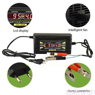 12V Intelligent Lead-acid Battery Charger for Car Motorcycle LCD Display EU/US