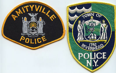 Amityville & Riverhead New York Ny 2 Patches Police Patch