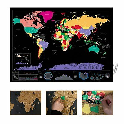 Scratch Off World Map Where You Travel Poster Layer Atlas Decor Journal Log Fast