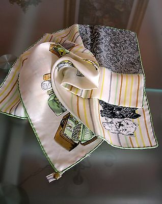 """Made in ITALY NEIMAN MARCUS 100% SILK HAND ROLLED SQUARE SCARF KERCHIEF 18""""x18"""""""
