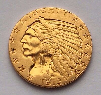 1913 Indian Head Gold $5 Dollars Coin Free Shipping