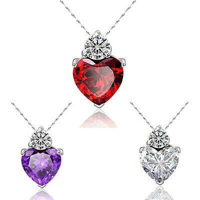 Fashion Women 925 Silver Heart Crystal Rhinestone Pendant Necklace Chain Jewelry