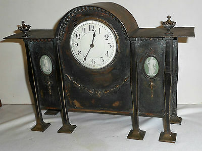Rare Antique English Heavy Brass / Copper Mantel / Desk Clock Working Art Noveau