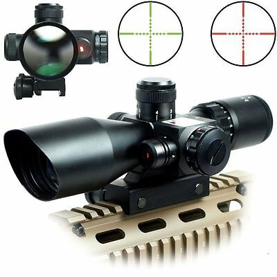 Red Green Rifle Scope 2.5-10x40 Tactical Mil-dot illuminated Red Laser Mount TF