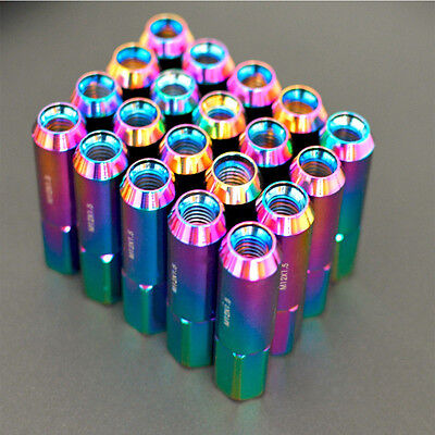 NEO CHROME ALUMINUM EXTENDED TUNER LUG NUTS 60MM FOR WHEELS/RIMS M12X1.5 20PCs