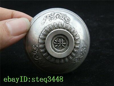 Collectible Decorated Old Handwork Tibet Silver Carved Pair Dragon Bowl