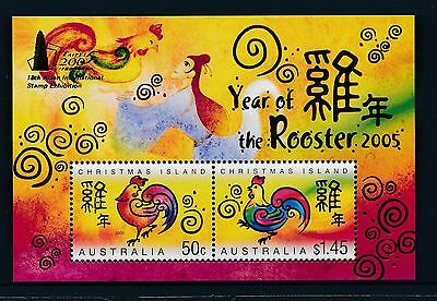 2005 Christmas Island Year of the Rooster Taipei OPT Minisheet Fine Mint MNH/MUH