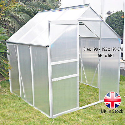 Panana Greenhouse Clear Polycarbonate Panels Aluminium Solid Base Frame 6FT x6FT