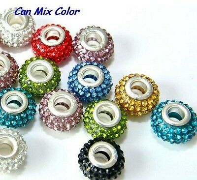 50pcs/lot 12*14mm mixed Crystal Rondelle silver Plated Big Hole European Bead