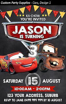 Disney Cars Birthday Party Invites Invitations Personalised Lightning McQueen