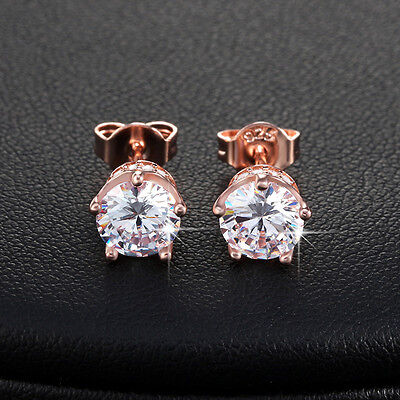 Bling Crystal Stud Earrings Round Cut Cubic Zirconia Fashion Earring Accessories