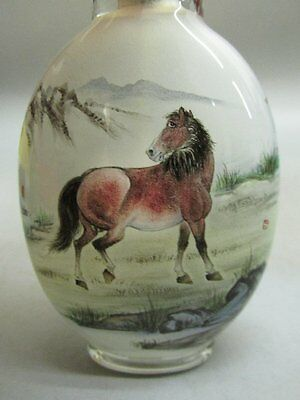Chinese Glass Hand Inside-drawing Horse Scenery Pattern Snuff Bottle