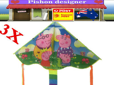 3x Cartoon Kites 140x100cm Line Outdoor Sport for Kids Children Easy to Fly