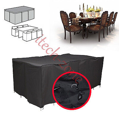 Large Rectangle Garden Patio Furniture Set Heavy Duty Table Rain Protector Cover