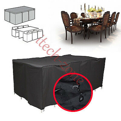 4/6/8/10 Seater Waterproof Furniture Cover Cube Shelter Patio Garden Rectangular