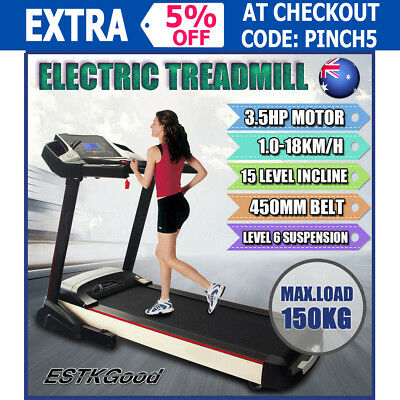2017 3.5HP Electric Treadmill Exercise Equipment Machine Quiet Fitness Home Gym
