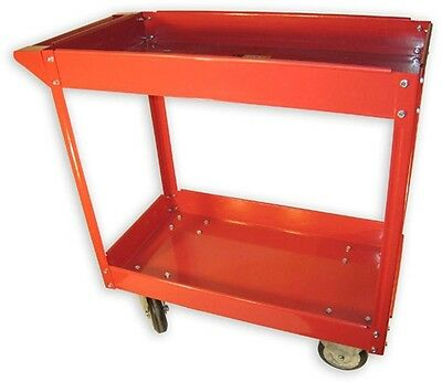 600 lb. 2-Shelf Steel Durable Caster Wheels Storage Rolling Red Tool Cart Truck