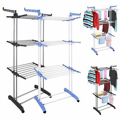 Portable Indoor Outdoor Clothes Airer Laundry Patio Dryer Rail Line Hanger Rack