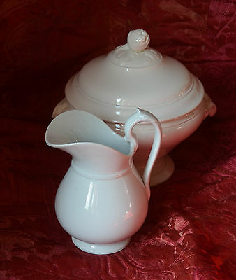 Elegant antique French white ironstone water pitcher or jug, Luneville