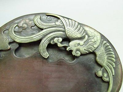 Chinese Red Silk Stone Carved Phoenix Ink Stone / Ink Slab