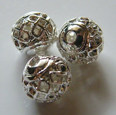 50pcs 8mm Round Metal Alloy Hollow Spacer Beads - Bright Silver